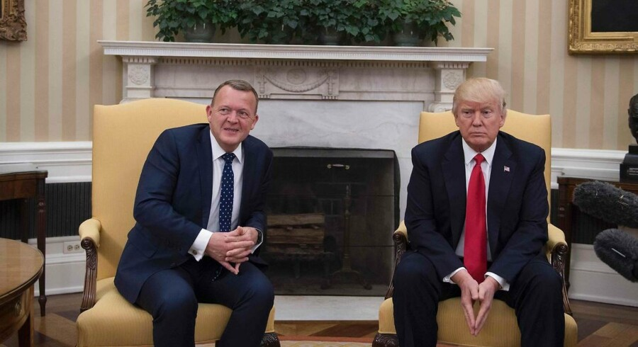 Lars Løkke Rasmussen mødte Donald Trump i Det Hvide Hus d. 30 marts 2017. / AFP PHOTO / JIM WATSON