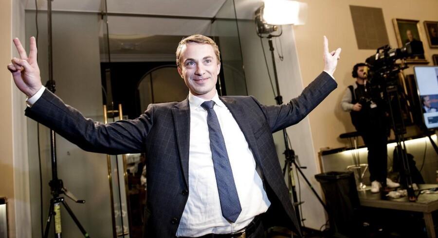 Dansk Folkeparti holder valgfest på Christiansborg. Her Morten Messerschmidt.