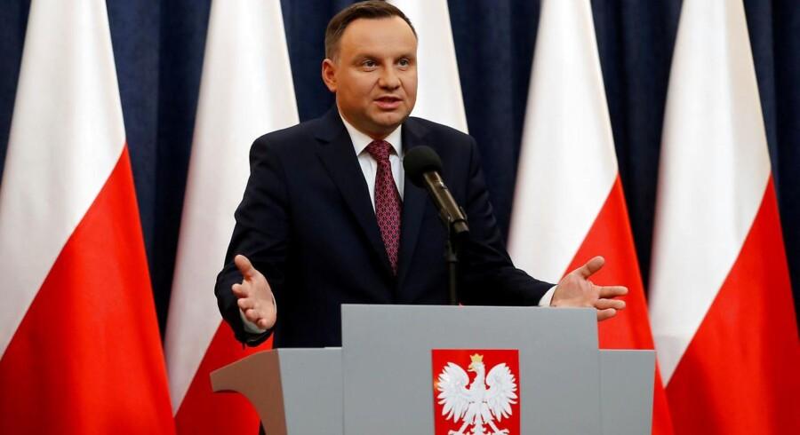Polens præsident, Andrzej Duda, ved en pressekonference efter, at EU-Kommissionen annoncerede sin beslutning om at starte en såkaldt artikel 7-procedure.