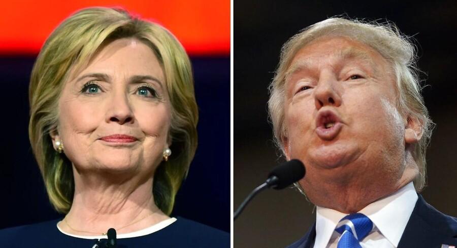 ARKIVFOTO. Republikanernes Donald Trump har fortsat solidt forspring, mens det er mere tæt blandt Demokraterne.