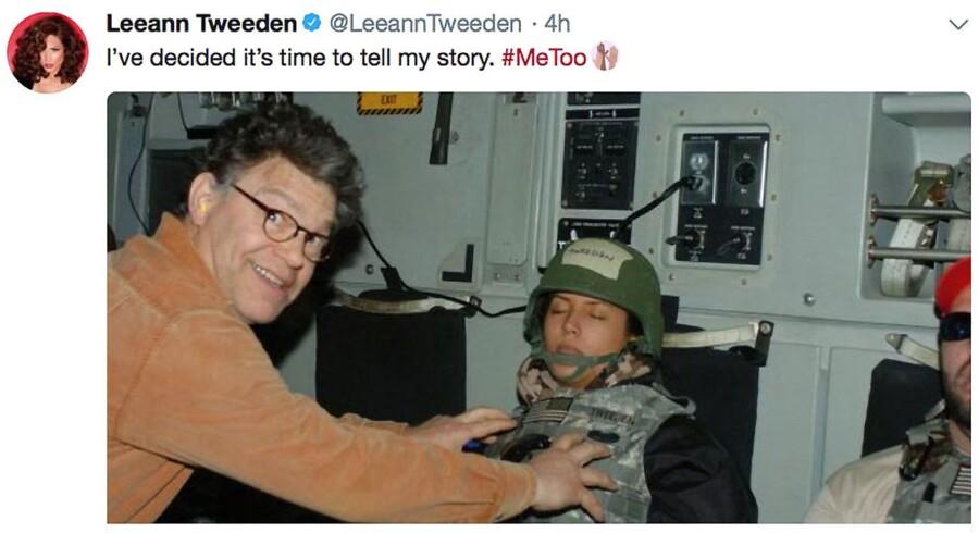 Al Franken anklages for at opføre sig stærkt upassende over for den kvindelige radiovært Leeann Tweeden.