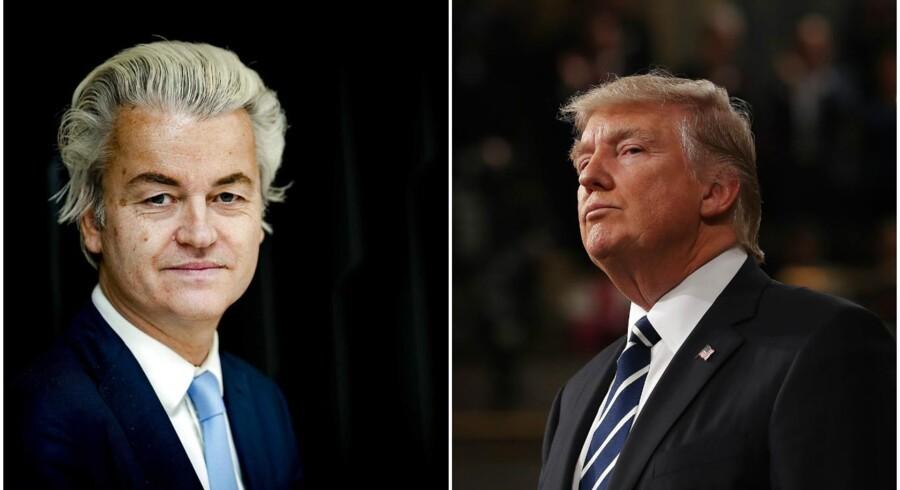 EU- og indvandringskritiske Geert Wilders og USAs præsident, Donald Trump