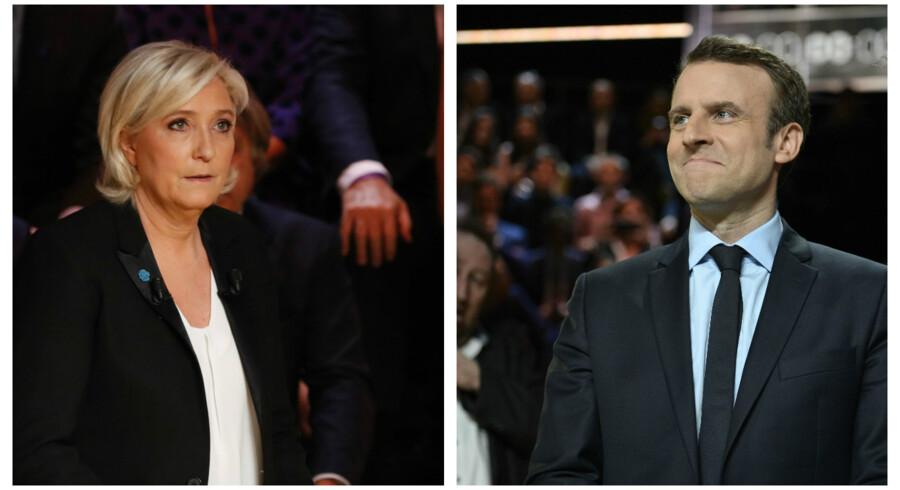 Leder af Front National, Marine Le Pen, lancerede flere angreb mod den socialliberale tidligere økonomiminister Emmanuel Macron under TV-debatten mandag aften.