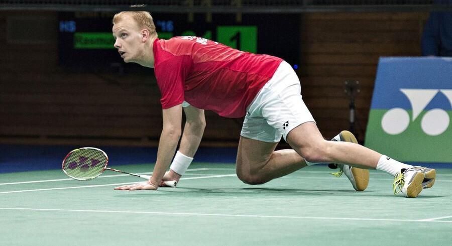 DM Badminton i Aarhus Stadionhal, her finalen i Herresingle mellem Emil Holst og Rasmus Fladberg. Emil Holst under kampen (foto: Henning Bagger/Scanpix 2016)