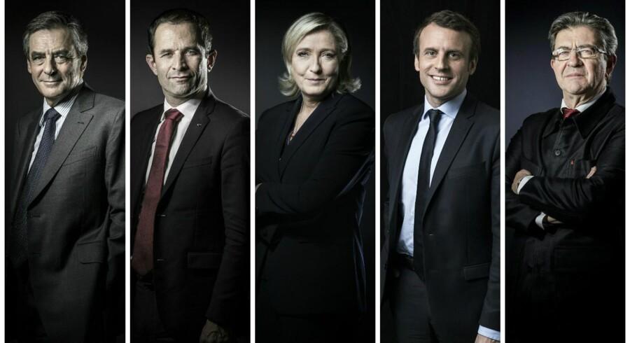 Fra venstre Francois Filloner fra det republikanske parti, Benoit Hamon fra socialistpartiet, Marine Le Pen fra Front National, Emmanuel Macron fra bevægselsen »En marche«, og Jean-Luc Mélenchon fra venstrekoalitionen »La France insoumise«.