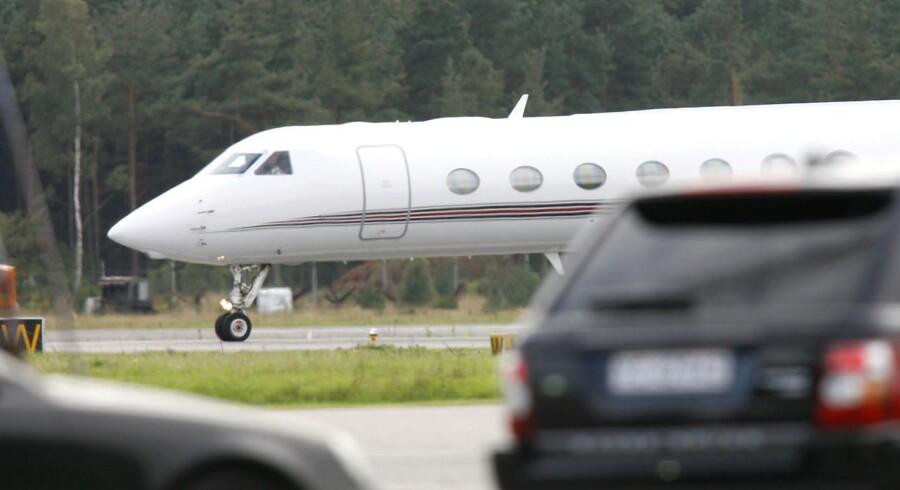 Lidt for travlt? Book et privatfly som dette med en ny app. Privatflyet her blev brugt af sangerinden Madonna under et dansk besøg for et par år siden.