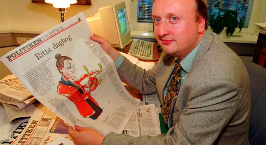 Tøger Seidenfaden i 1995. Centrum-Demokraternes leder, Mimi Jakobsen, tilbød i begyndelsen af 1990'erne Politikens nu afdøde chefredaktør Tøger Seidenfaden en ministerpost i en kommende rød regering ledet af Poul Nyrup Rasmussen.