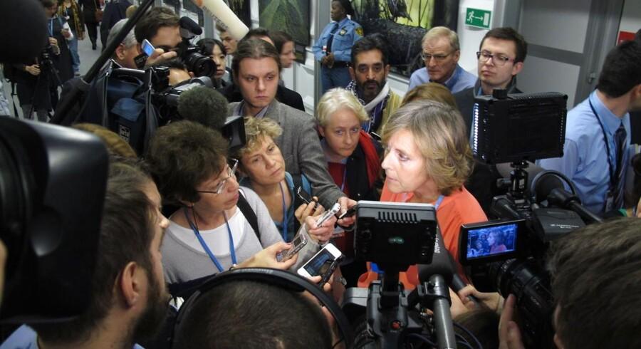 EUs klimakommissær, Connie Hedegaard, udtaler sig efter afslutningen af COP19 i Warszawa lørdag, da 190 lande blev enige om en spinkel køreplan for en klimaaftale.