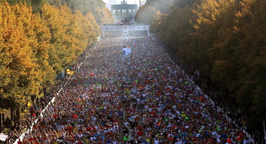 Sådan så det ud, da starten gik på Berlin Marathon 2011.