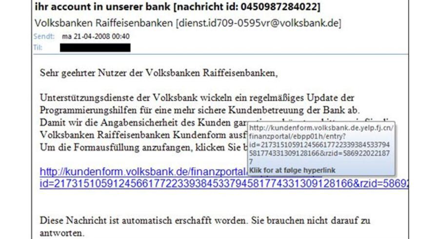 Sådan ser den falske meddelelse fra  Volksbanken Raiffeisenbanken ud.