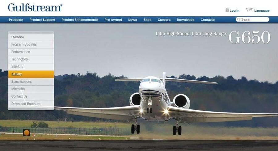 Dette nye langdistancefly, en Gulfstream G650, kan til foråret indlemmes i flyparken som erstatning for de to fly, som nu skal sælges for at spare penge. Foto: Gulfstream