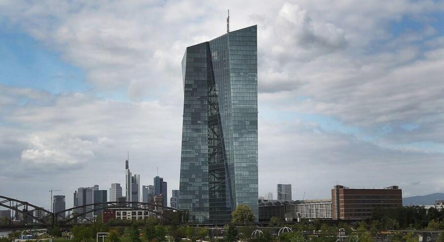 Den Europæiske Central Bank (ECB) er placeret i Frankfurt am Main i Tyskland. AFP PHOTO / Daniel ROLAND
