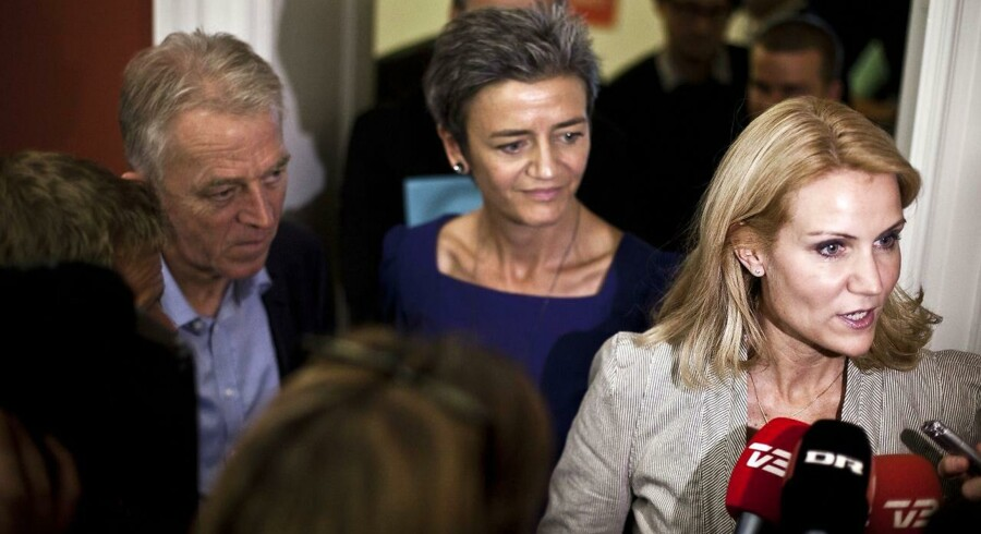 De nye regeringspartier Socialdemokraterne, SF og Radikale Venstre med Helle Thorning-Schmidt, Villy Søvndal og Margrethe Vestager i spidsen.