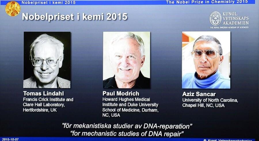 Tre forskere modtager årets Nobelpris i kemi for deres arbejde med cellernes værktøjskasse til at reparere DNA.Skærmbillede fra nobelprisens hjemmesiden Nobelprize.org.