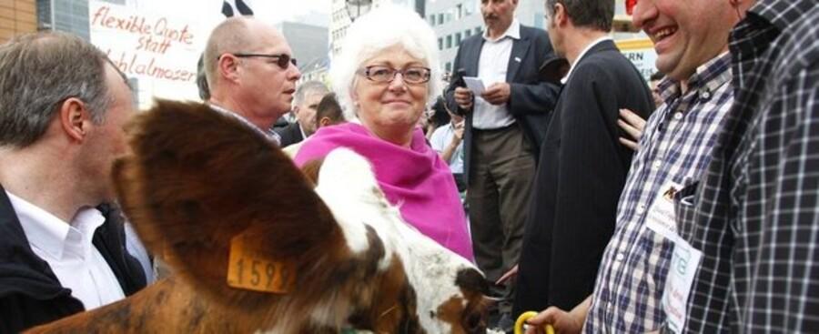 EUs landbrugskommissær Mariann Fischer Boel mødtes blandt andet med utilfredse mælkebønder i Bruxelles i maj