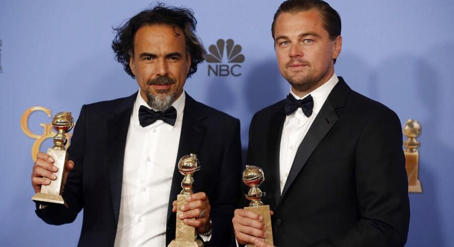 Instruktør Alejandro Gonzalez Inarritu med Leonardo DiCaprio.
