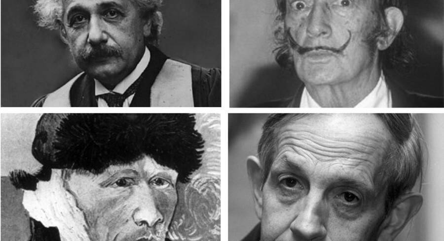 Fire store personligheder. Øverst fra venstre: Fysikeren Albert Einstein, billedkunstneren Salvador Dalí, billedkunstnere Vincent van Gogh og nobelpristageren i økonomi fra 1994, John Nash. <br>Fotocollage: Scanpix