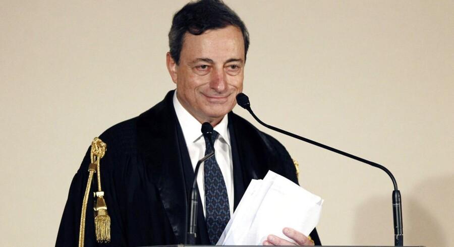 Den Europæiske Centralbanks topchef Mario Draghi ved Luiss Universitet i Rom.