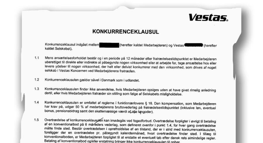 Et uddrag af konkurrenceklausulen på Vestas, der er omtalt i artiklen. Betingelserne får fagforeningen Teknisk Landsforbund til at kræve lønkompensation eller lignende til sine medlemmer.