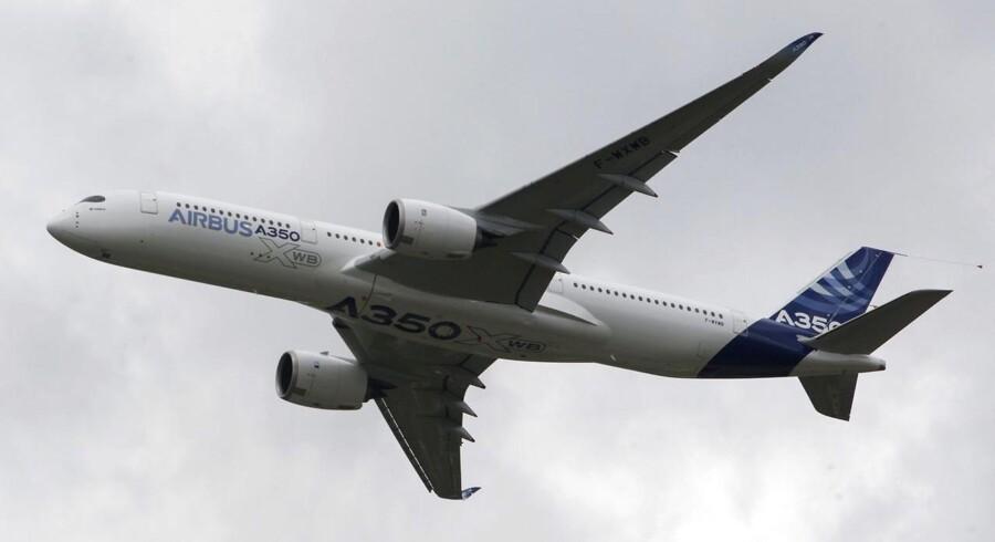 Her er et af SAS' nye langdistancefly Airbus A 350
