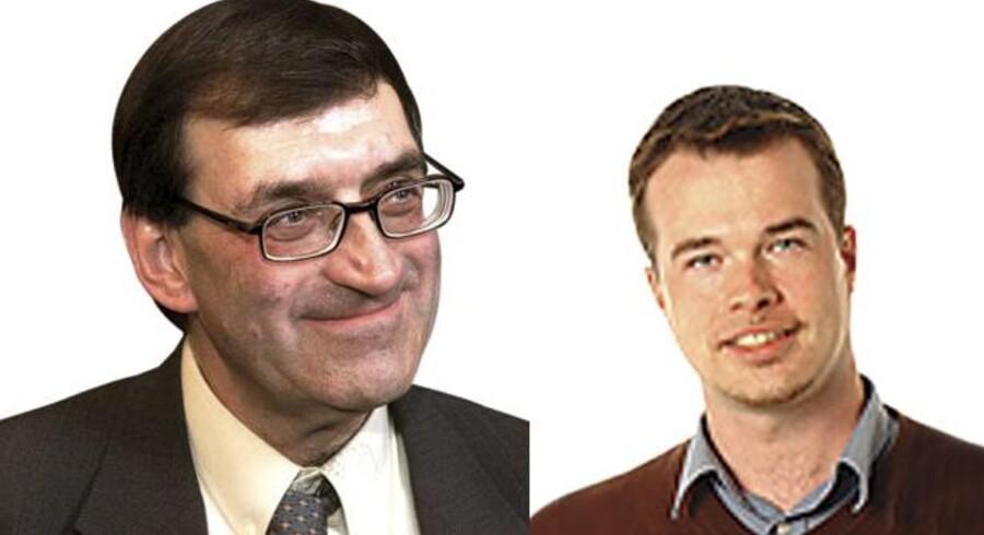 Jørgen Estrup og Lave K. Broch, henholdsvis landsformand og forretningsudvalgsmedlem for FN-forbundet.