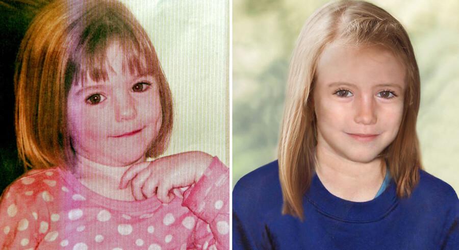 Madeleine McCann som tre-årig og som hun muligvis ville se ud i dag, hvis hun er i live.