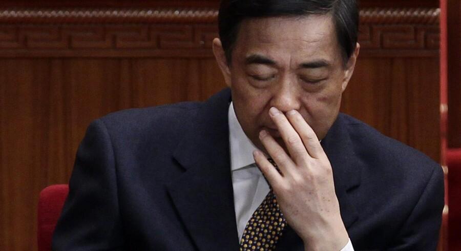 Bo Xilai fotograferet 5. marts, hvor han endnu var partisekretær i Chongqing. I går blev han også ekskluderet fra Kommunistpartiet, og det forventes, at han bliver dømt, inden partiets kongres begynder 8. november. Foto: Jason Lee/Reuters