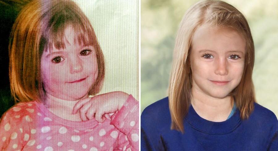 ARKIVFOTO. Disse to billeder udsendt af britisk politi viser Madeleine, som hun så ud, da hun forsvandt, og hvordan hun formentlig ser ud i dag, hvis hun fortsat er i live.