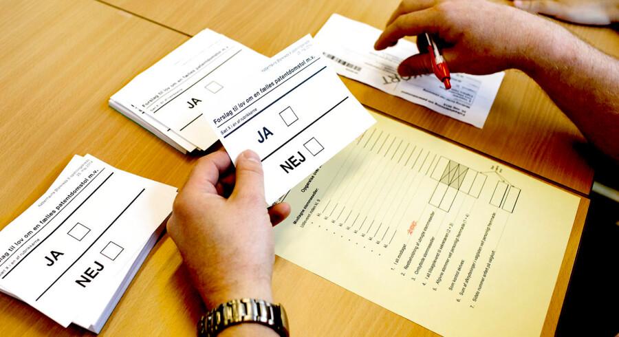 Europa-Parlamentsvalget 2014. Danskerne skulle til folkeafstemning om patentdomstolen og sætte kryds til Europa-Parlamentsvalget søndag d. 25. maj 2014. (Foto: Bax Lindhardt/Scanpix 2014)