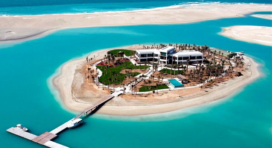 En villa bygget på en af de mange kunstigt konstruerede øer kaldet The World.