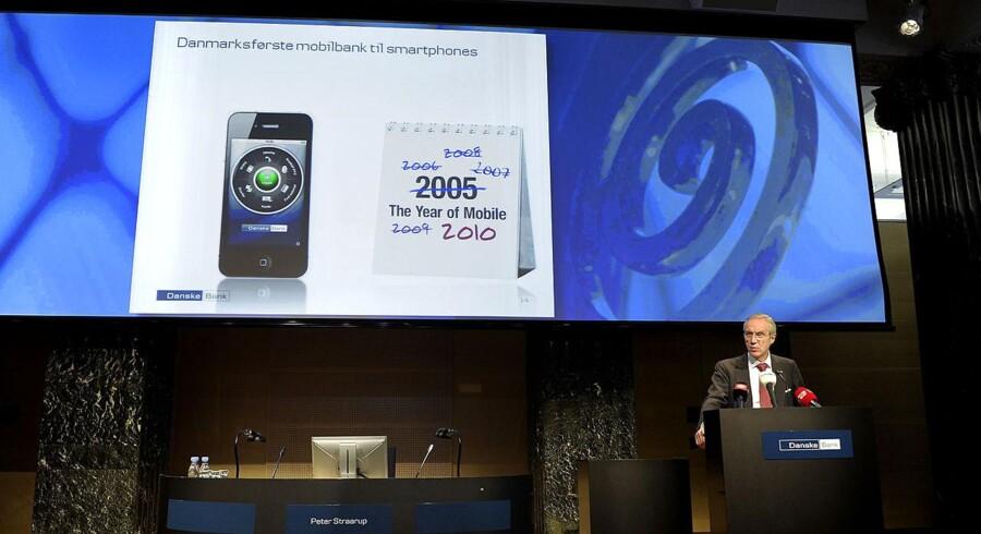 Peter Straarup ved præsentationen af Danske Banks første mobilbank. Arkivfoto.