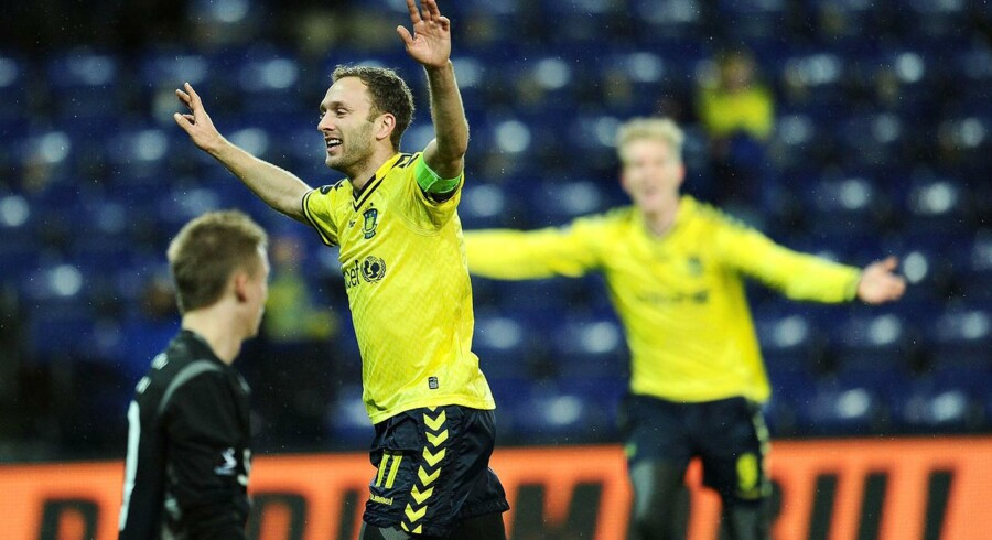 Brøndbys Dennis Rommedahl fejrer sin scoring i kampen mellem Brøndby IF og AC Horsens, søndag d. 25. november.