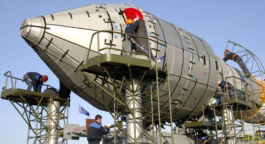 Den første Galileo-satellit blev sendt op med raket fra den tidligere sovjetiske rumbase Baikonur i dagens Kasakhstan i april 2008. Arkivfoto: AFP/Scanpix