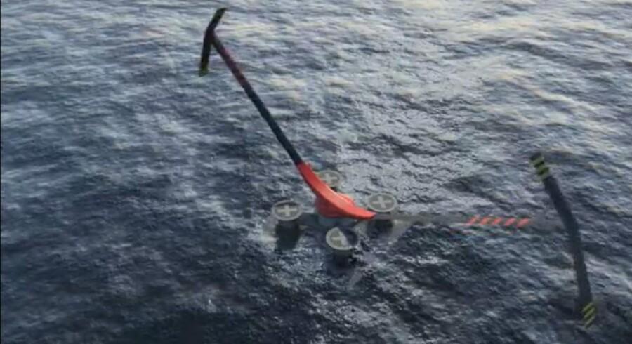 """Hermed en prototype af møllen """"Aerogenerator X"""" fra britiske Wind Power Limited og den danske ingeniørvirksomhed Arup."""