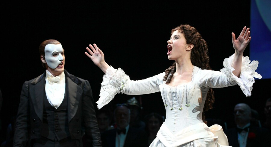 Hugh Panaro & Sierra Boggess during the Phantom of the Opera - 25 Years on Broadway Gala Performance Curtain Call Celebration at the Majestic Theatre in New York City on 26/01/2013
