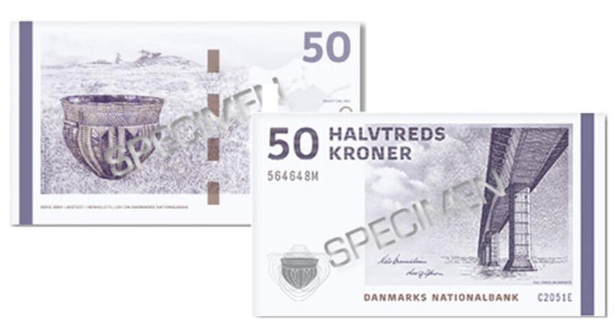 Sådan ser den nye 50 kroneseddel ud - de øvrige sedler kommer løbende på gaden med 1.000 kronesedlen som den sidste i maj 2011.