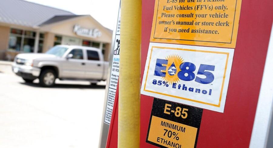 Bioethanol bliver i stigende grad brugt som brændstof - også i USA. Her ses ethanol-pumpe i byen Johnston, Iowa,