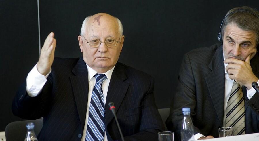 Arkivfoto. Den tidligere russiske præsident Mikhail Gorbatjov under et besøg i Danmark i 2007.