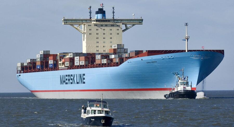 A.P. Møller - Mærsk bestiller yderligere 10 af verdens største containerskibe til en pris af en milliard kroner per styk. Her ses Emma Mærsk, der - indtil den nye flok ankommer - er verdens største containerskib.