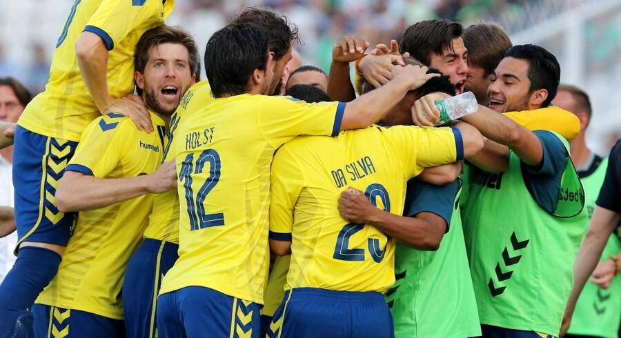 Vild jubel blandt Brøndby-spillerne, da klubben fra Vestegnen torsdag sendte Omonia Nicosia ud af Europa League