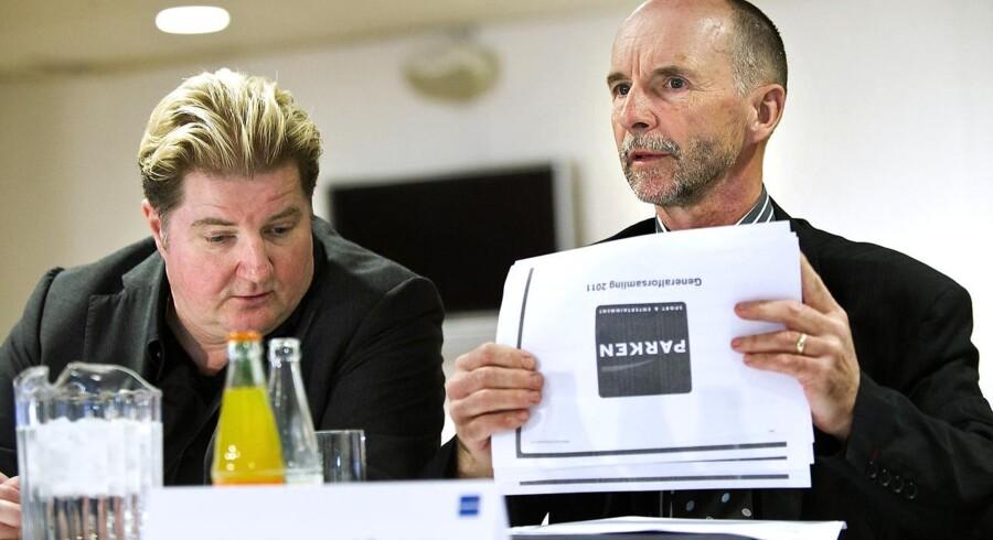 Erik Skjærbæk (tv) og Karl Peter Korsgaard Sørensen ejer hver over 20 procent af aktierne i Parken Sport & Entertainment.