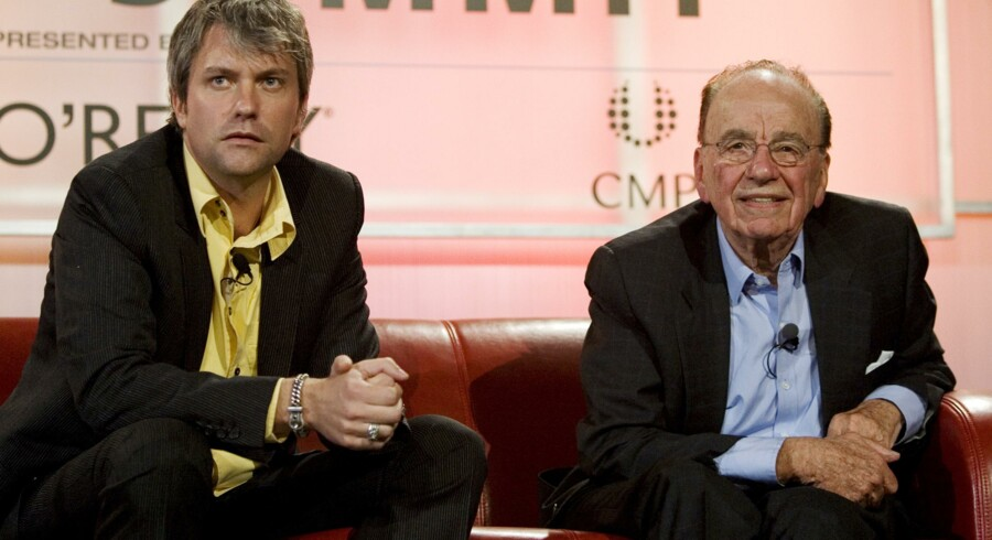 News Corp Chairman Rupert Murdoch (H) og MySpace Chief Executive Chris DeWolfe.