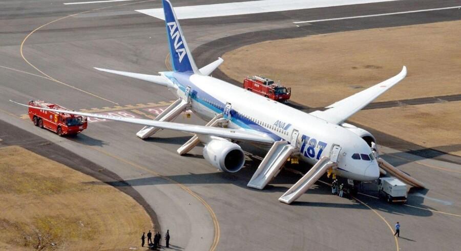 Her ses det All Nippon Airways-Dreamliner, der måtte sikkerhedslande i Takamatsu-lufthavenn 16. januar.