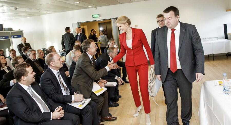 Dansk Industri og CO-industri går sammen om at lancere landets første tænketank om europapoliti. Statsminister Helle Thorning-Schmidt taler i anledning af den nye tænketank om Danmarks forhold til EU. Formand Claus Jensen (th), CO-industri og adm. direktør Karsten Dybvad, DI er også tilstede.