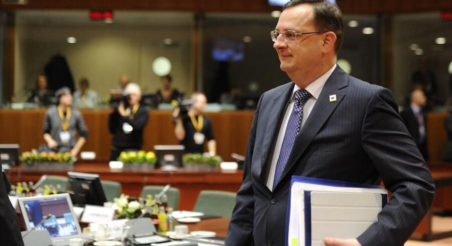 Den tjekkiske premierminister Petr Necas før forhandlingerne i Bruxelles her til aften, mandag 30. januar 2012.
