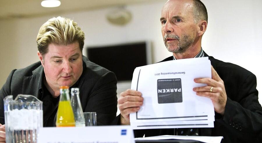 Erik Skjærbæk (tv) og Karl Peter Korsgaard Sørensen jer nu hver knap 20 procent af aktierne i Parken Sport & Entertainment.