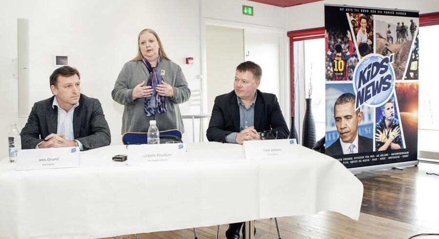 Jens Grund (til venstre), Lisbeth Knudsen og Tom Jensen fra Berlingske lancerer Kids' News, som udkommer første gang fredag 25. april. Berlingske Media og Mecom har fået en god start på året.
