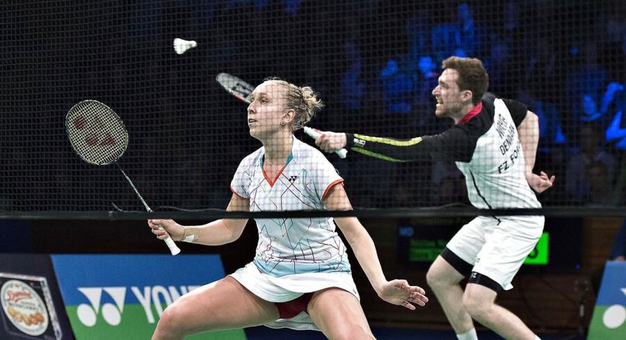 DM Badminton i Aarhus Stadionhal, her finalen i Mixed Double mellem Joachim Fischer / Christinna Pedersen og Niclas Nøhr / Sara Thygesen. Her ses Niclas Nøhr og Sara Thygesen under kampen. (foto: Henning Bagger/Scanpix 2016)