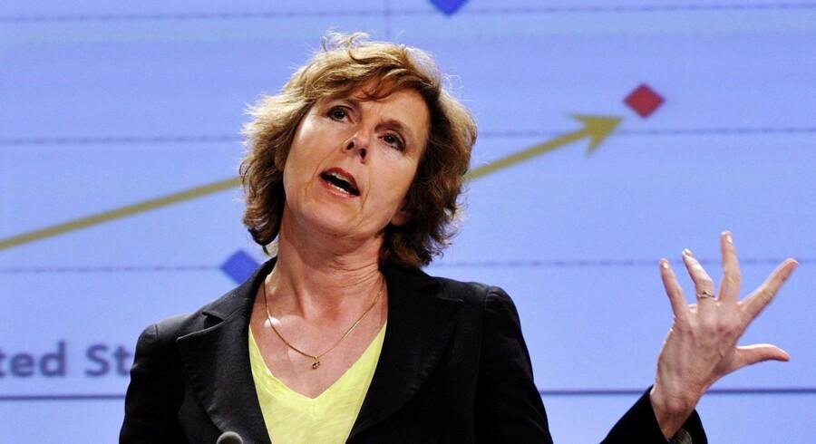 EUs miljøkommissær, Connie Hedegaard, fik hevet en sejr hjem fra EU-Parlamentets miljøudvalg, der nu støtter planen om en udbygning af kvotesystemet. Foto: Georges Gobet/Reuters