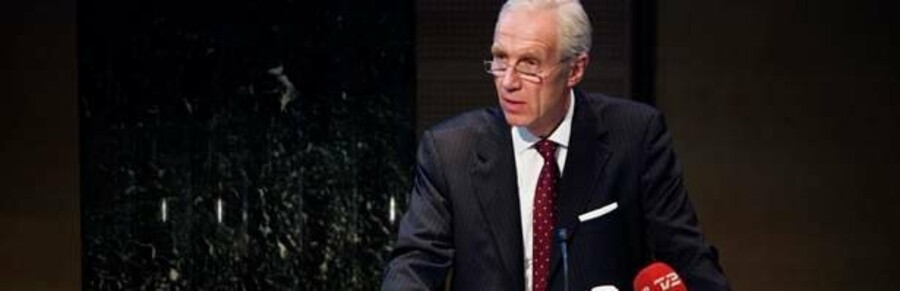 Danske Banks topchef Peter Straarup ved regnskabsfremlæggelsen i går.